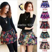 New Fashion Vintage Women's Autumn Winter Woolen High Waist Pleated Floral Short Mini Skirt Skater Flared Flower TUTU Skirts
