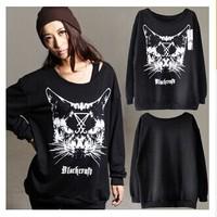 European Cutie Cat Printed Hoodies Woman Streetwear New Brand Sweetshirts TNP013