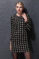 plus size XL-5XL 2015 new spring antumn women vintage plaid long sleeve o neck casual dress fashion work dress women clothing
