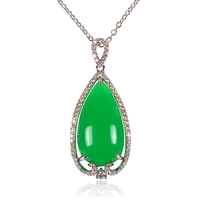 Water drop nature stone pendant necklace high class from the famous Ping Chau Street jade in Foshan db3319