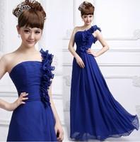 Evening Dress 2015 Bride Fashion One Shoulder Flowers Sexy Party Dress Plus Size Chiffon Sexy Prom Bridesmaids Dress 12 Colors