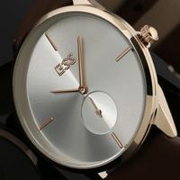 ESS Classic Mens White Dial Value Golden Case Leather Strap Man's Quartz Wrist Watch WA031-ESS