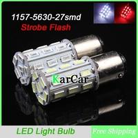 10PCS/Lot 1157 5630 27 LED Strobe Flash Brake Bulbs BAY15D Car Brake Lights, Wholesale P21/5W Rear Light White/Red