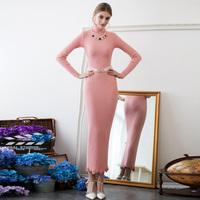Elegant mermaid lace embroidery flower slim brief full dress turtleneck knitted basic 9268 one-piece dress