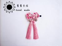 Free shipping Handmade hair accessory japanese style wind crepe kimono bathrobe cos accessories hair accessory bell tassel ccbt