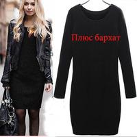 Hot sale! Winter Women Dress 2014 New Fashion Loose-fitting Dress Long Sleeves Dresses Autumn O-neck Sheath dresses XXL 106