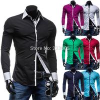 New 2014 British Style Mens Square Button Designer Patchwork Long Sleeve Slim Fit Shirt Men Casual Social Shirts 7 Colors M-XXL