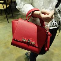new 2014 solid color bag hot selling women classic package bat wings ladies bag cool rivet style bag