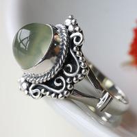 Index finger ring vintage 925 silver inlaying natural prehnite shining stone Women