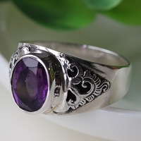 Natural amethyst ring finger ring women's ring vintage accessories Women Iotion gift love stone