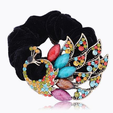Free Shipping Vintage national trend peacock rhinestone rubber band headband cloth circle hair rope G037(China (Mainland))