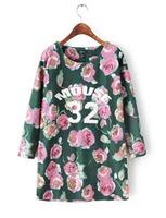 2015 European Style Women Sweatshirts Long Retro Loose Cotton T-shirt Famous Brand Casual Spring Autumn Winter Outwear CL2213