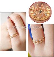 10Pcs/lot Fashion Women Rhinestone Crystal Crown Ring Jewelry Korea Temperament Elegant Queen Crown Clear Crystals Lady Rings