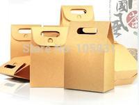 30X FREE SHIPPING Brown kraft paper christmas food retail packaging box disposable 10 * 15.5cm + 6cm can printed custom logo