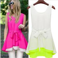 WZ12-13 2015 summer new fashion color spell irregular hem sleeveless chiffon dress hit the color miniskirt