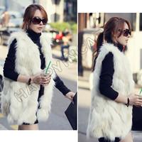 Casual Winter Autumn Faux Mink Fox Fur Waistcoat Elegant Lady Sleeveless Vest Long Hair Shaggy Outwear Coat Pocket Jacket BYF462