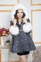 2014 New Fashion Women Winter Woolen Long Slim Fur Collar Hooded Coat Jacket Parka