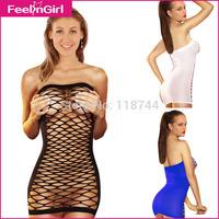 Black Blue White Wrapped Chest Netting Sexy Fishnet Sleepwear For Women Babydoll Lingerie Chemise Sleeveless Nightwear 3