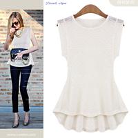 WZ12-08 2015 Summer New Fashion Brand Blouses Thin Slim Lace Tops Sleeveless Lace Shirt