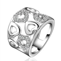 NEW Arrivel 2014 USA EURO Style Fashion Silver plated heart just sprial Ring Wholesale Jewelry SMTR633