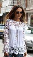 free shipping!Plus Size New 2015Shoulder Lace Flower Hollow Chiffon Blouse Shirt Women Long Sleeve Autumn Casual blusas