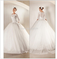 2014 Fashionable Glamorous Ball Gown Lace 3/4 Sleeves Wedding Dress,Wedding Gowns,Ball Gown bn0161569685