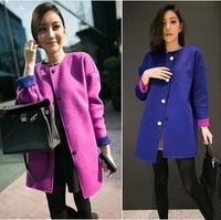 2015 New Arrival Women Cashmere Wool Jacket Fashion Slim Woolen Coat Woman Two-Sided Wear 100% Quality Free Shipping