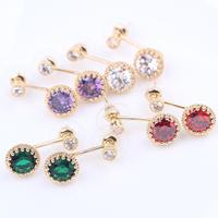 Fashion 18k yellow gold filled Women's dangle earrings inlaid stone GF jewelry