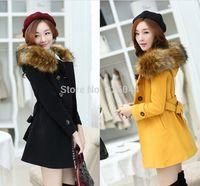 2014 New Fashion women winter hooded quilted fur collar woolen coat parka overcoat jacket