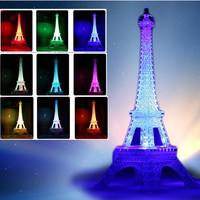 LED Acrylic Paris Eiffel Tower Nightlight Figurine christmas lights Statue Crafts home decoration night light gift Free Shipping