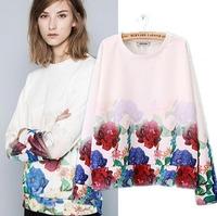 2015 European Style Women Sweatshirts Gradient Patchwork Hem Cotton Famous Brand Casual Spring Autumn Winter Outwear CL2220
