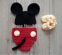 frete grátis lã de tricô cartoon infantil terno de lã/estúdio de fotografia roupas/fotos de bebê/mickey(China (Mainland))