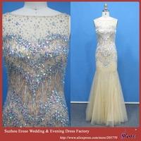 ADE-173 Shiny Colorful Rhinestones Beaded Sleeveless High Quality Long Mermaid Dresses Evening Gown 2015
