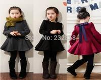 The new 2015 spring girls pure dress girls dress ribbon bow Hubble bubble sleeve dress
