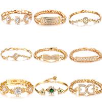 OPK 5pcs/lot MIixed Order 18K Real Gold Bracelet & Cuff Bangles Wedding Bridal Jewelry With Austria CZ Diamond Free Shipping