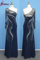 ADE-175 Navy Blue Trumpet/Mermaid Sequin Beaded Floor-length One Sleeve Evening Dress Gown 2015