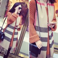 Women Shawl Wrap Cape Oversized Soft Striped Fringe Plaid Blanket Scarf S43