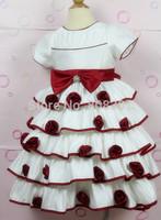 2014 new sweet bow flower girl dresses Baby Kids princess dress, flower girl dress puff  tutu dress,four color