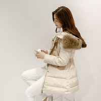 DHL free shipping 2014 winter large fur collar clothes Slim medium-long luxury thickening down jacket Plus size down coat female