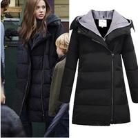 Fashion loose 2014 thickening slim medium-long down coat female plus size