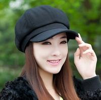Free shipping winter beret female autumn and winter woolen octagonal cap repair female fashion cap