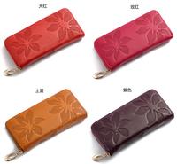 wholesale 50pcs New Designer women's wallet Leather Flower Pattern Ladies Purse Name Brand Clutch Bag via Express shipping