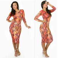 2014 New Arrival Tops Fashion booty nightclub Snake Skin Print Hollow Thin Plus Size Evening longsleeve Sexy Showgirl Slim Dress