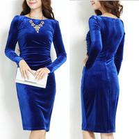 broadcloth women dress winter European and American gold velvet vestidos Slim long-sleeved Blue dress