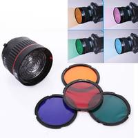 10X Studio Light Focus Mount Lens Adjust for Flash & LED Light With 4 color filters