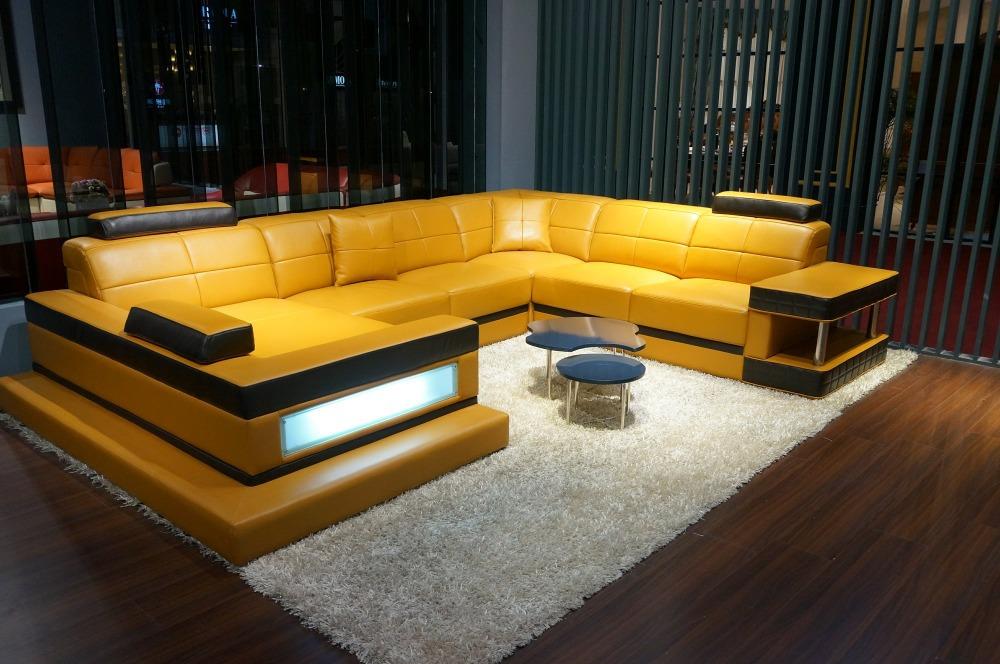 2014 자형 단면 소파는, 현대적인 거실 소파 가죽 # 5079