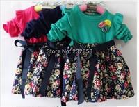 The new 2014 girl dress costume princess children bubble sleeve dress printed dress bow belt ribbon dress