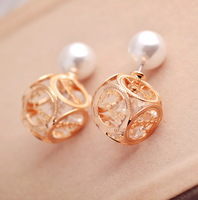 2015 Fashionable Ol temperament Rhinestone silver /gold pearl double stud earrings free shipping