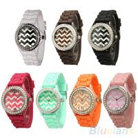 Unisex Geneva Stripes Silicone Band Rhinestone Jelly Gel Quartz Analog Wrist Watch