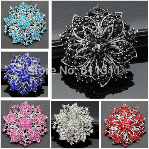 6pcs Multicolor Crystals Elegant Floral Pin Brooch Wedding Bridal Broaches